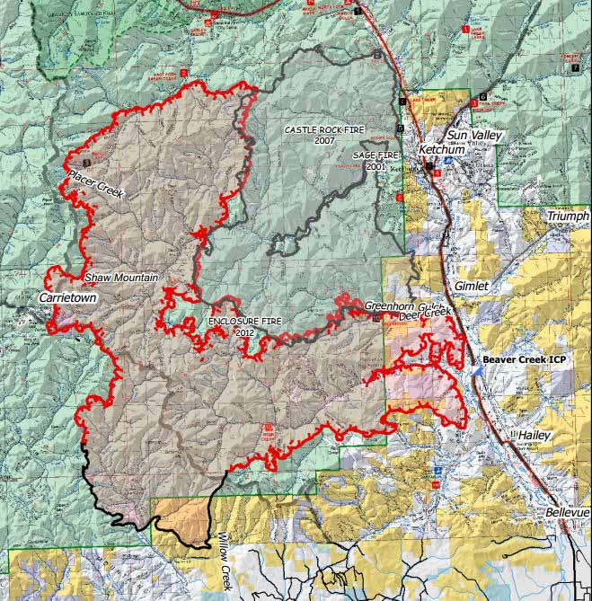 Map of Beaver Creek fire at 2 am MDT, August 17, 2013