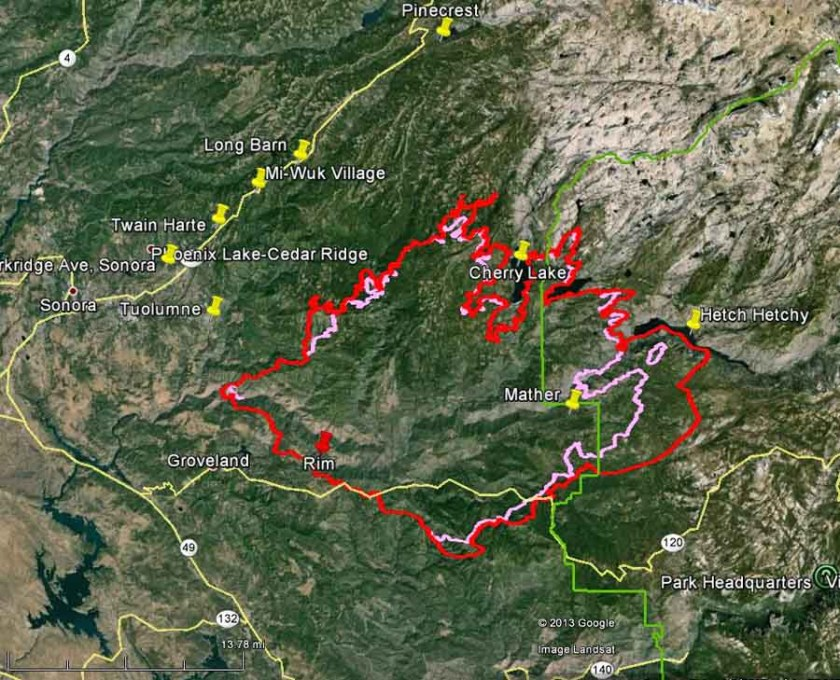 Map of Rim fire at 10 p.m.  PDT, August 27, 2013