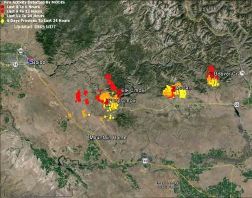 Map of fires east of Boise at 4 a.m. MDT, August 10, 2013