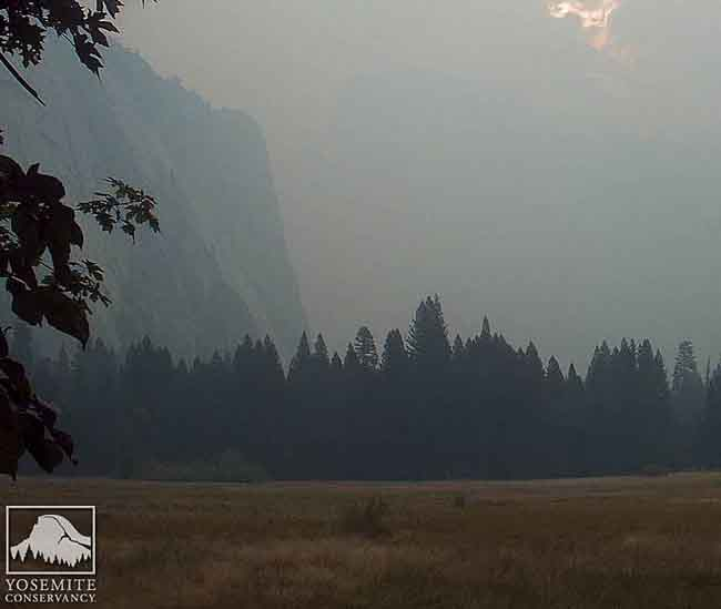 Yosemite Valley's Half Dome obscured by smoke