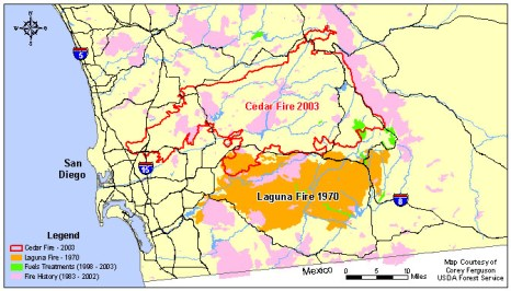 Fires California Map.Cedar Fire California S Largest Wildfire Today