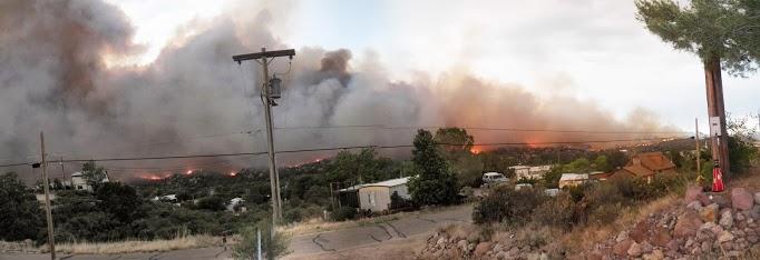 Yarnell Hill Fire burns into Yarnell, Arizona