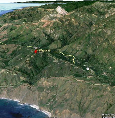 3-D map of Pfeiffer Fire area