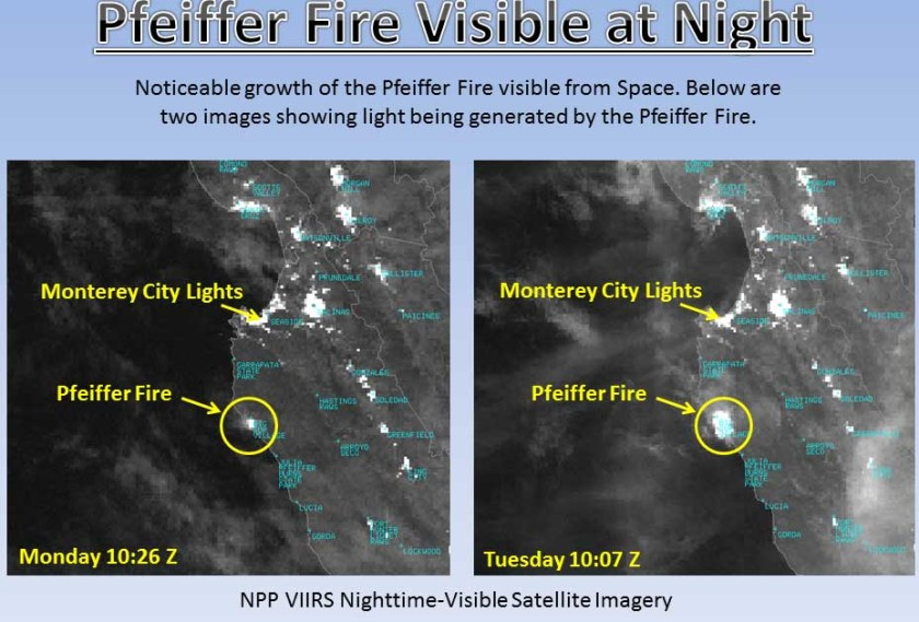 Pfeiffer Fire at night from space