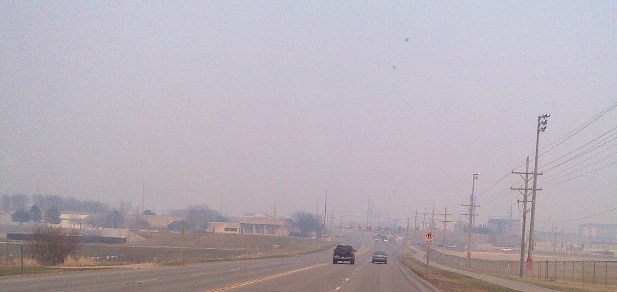 Prescribed fire smoke in Manhattan, Kansas