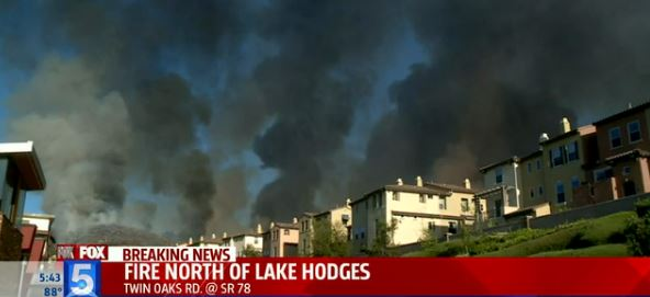 Fire near San Marcos, screen shot from Fox 5 at 545 pm May 14, 2014