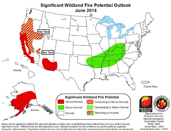 June 2014 wildfire outlook