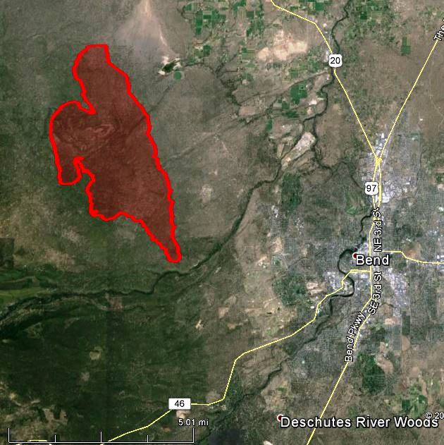 Map of Two Bulls Fire at 9 p.m. PT June 8, 2014