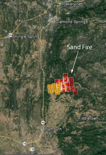 Map of Sand Fire at 2:14 p.m.,  July 26, 2014.