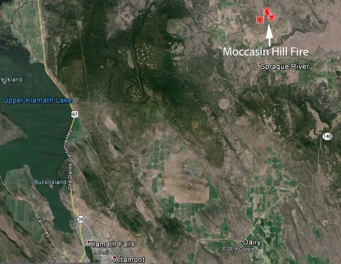 map of Moccasin River Fire