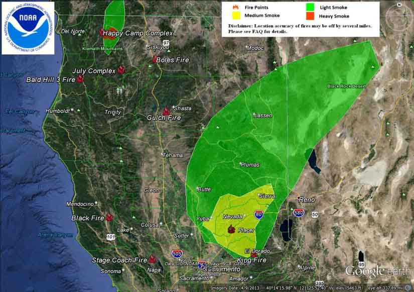 Smoke Map Northern California 9 15 2014 Wildfire Today