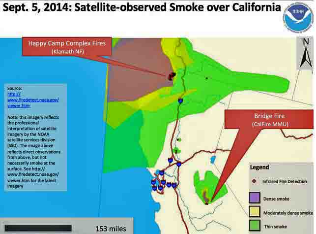 Smoke map, September 5, 2014. for northern California
