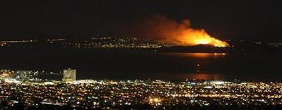 Fire on Angel Island in San Francisco Bay, October 13, 2008.
