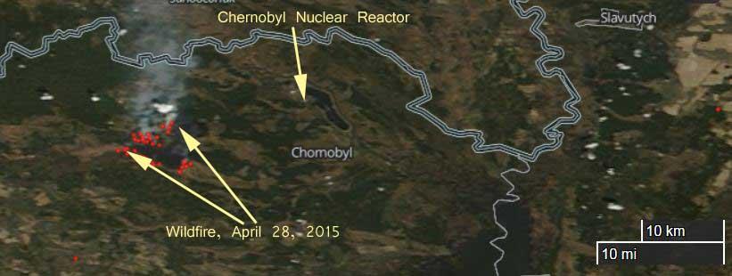 Map of fire near Chernobyl