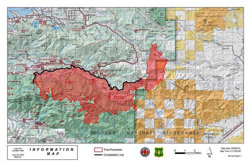 Lake Fire map June 25, 2015