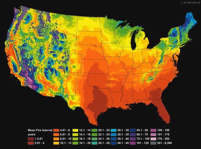 map historic wildfire frequency