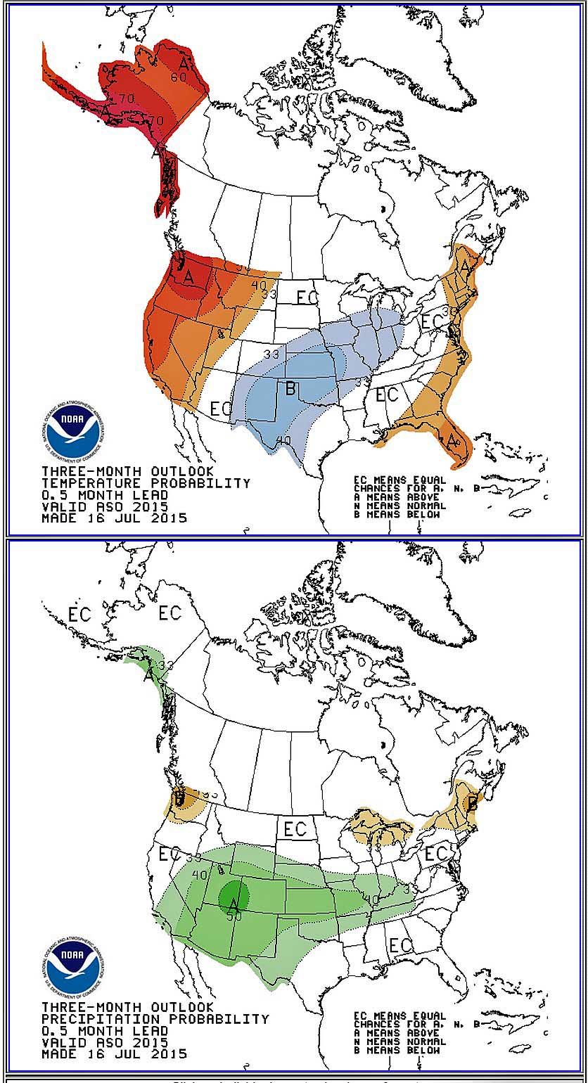 Three month weather outlook Aug-Sep-Oct