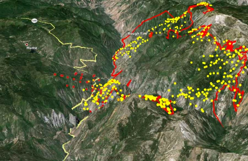 3-D map of the Rough Fire