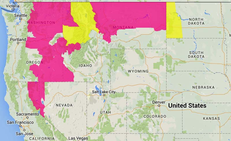 Red Flag Warnings in seven states, August 14, 2015 - Wildfire Today