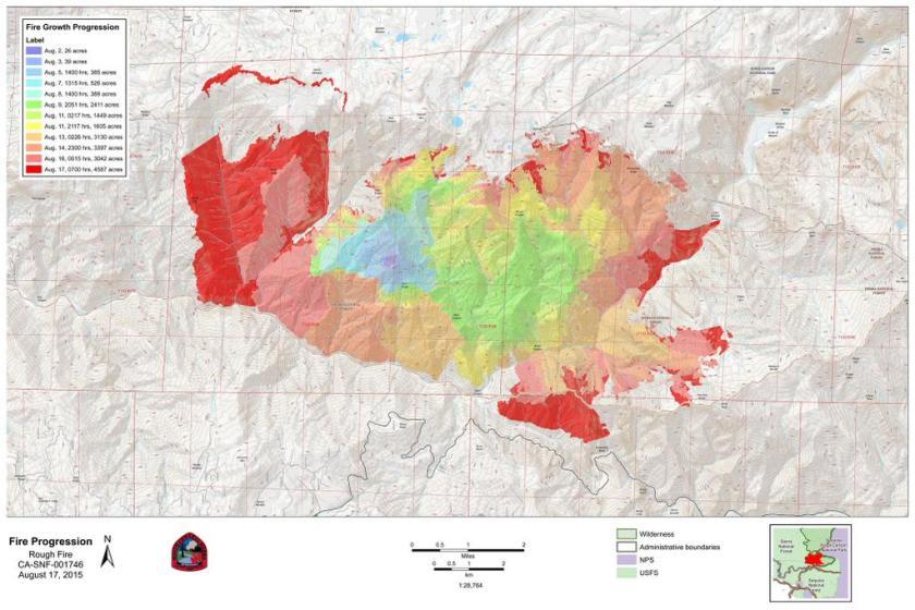 Rough fire progression map 8-17-15