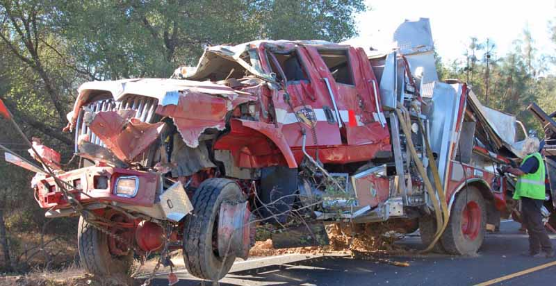 CAL FIRE engine rolls over - three firefighters injured