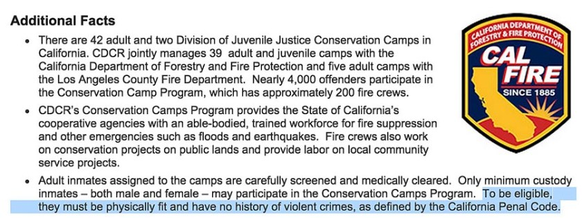 CDC violent inmate firefighters 9-5-2015