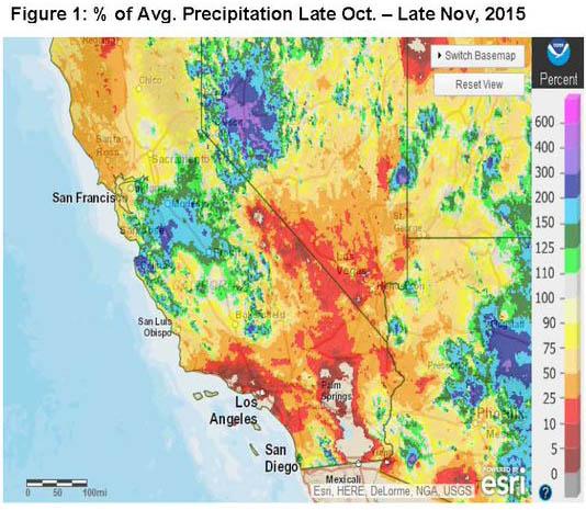 Precip percent of normal California
