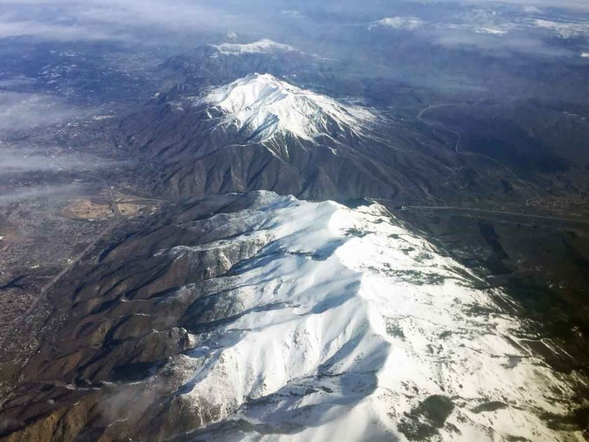 aerial photo Utah mountain Salt Lake City snow
