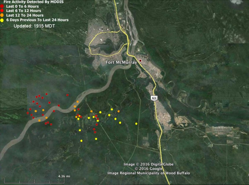 Map of Fort McMurray Fire