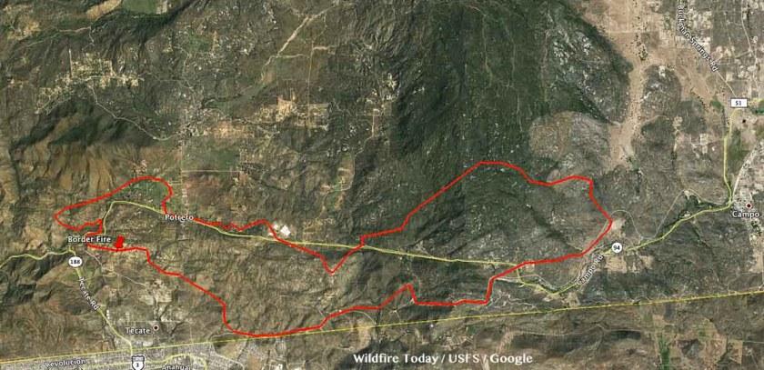 Border Fire perimeter map
