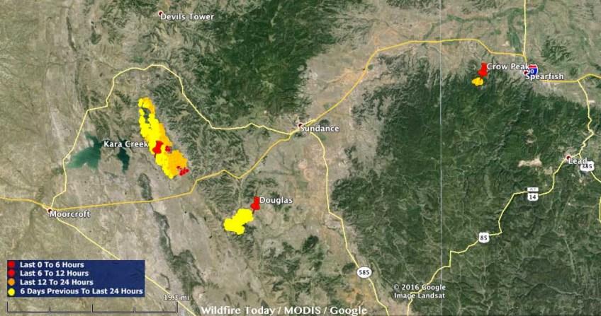 Map Kara Creek - Crow Peak Fires 246 am MDT June 26, 2016 - Wildfire ...