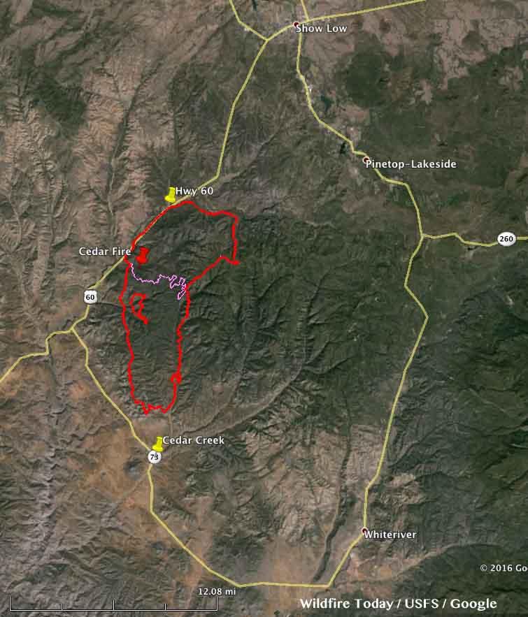 Map of Cedar Fire