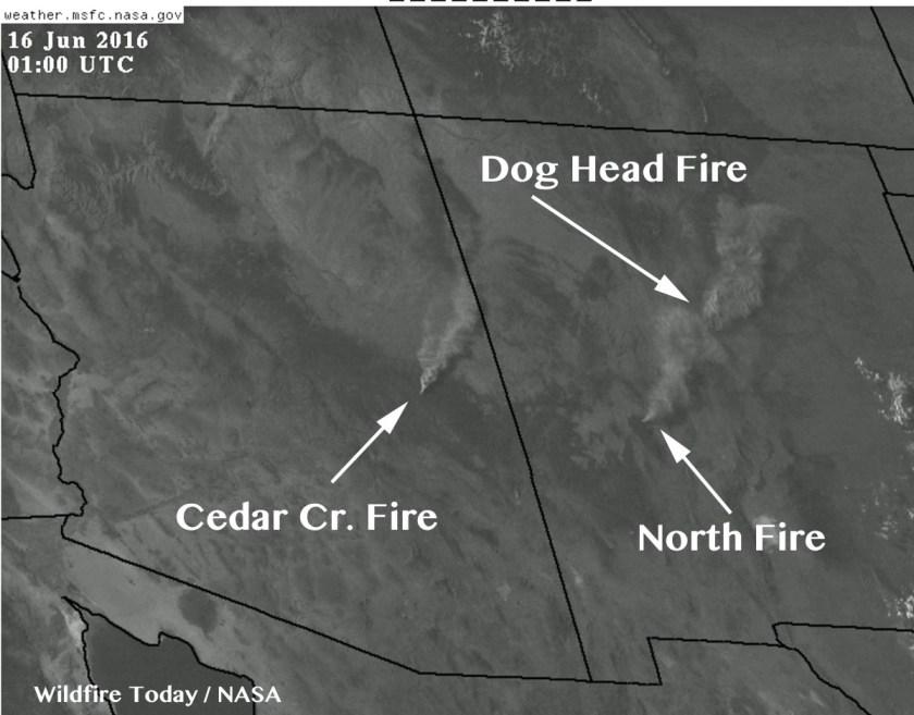 map Cedar Creek Fire smoke Arizona