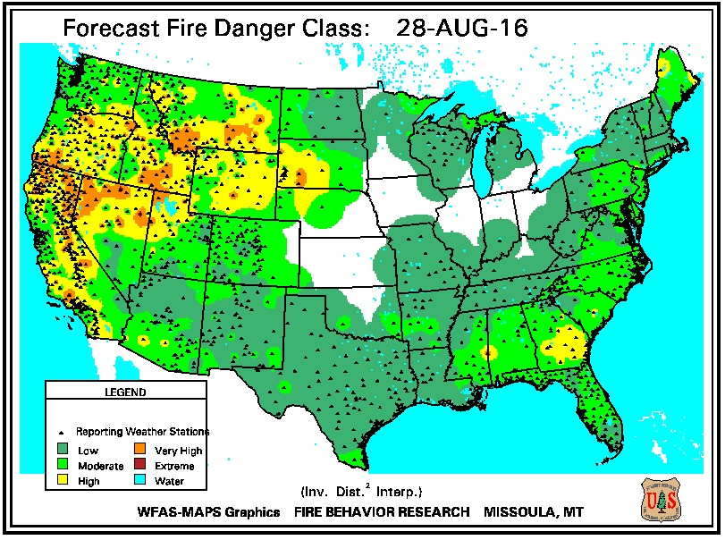 Fire danger August 28, 2016