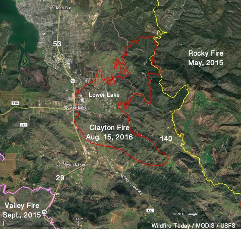 Map, Clayton Fire 2 am PDT Aug 15, 2016 - Wildfire Today on