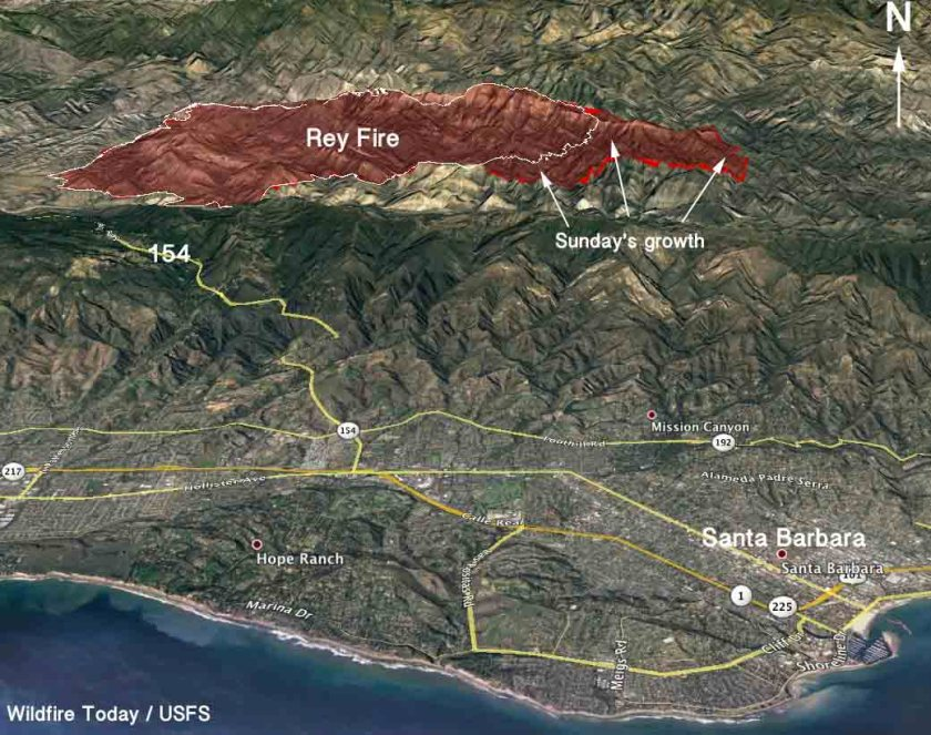 3-D Map of the Rey Fire