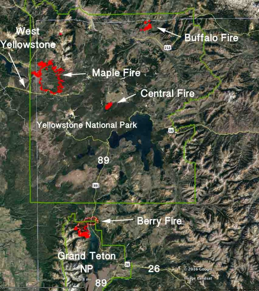 Fires Yellowstone and Grand Teton National Parks