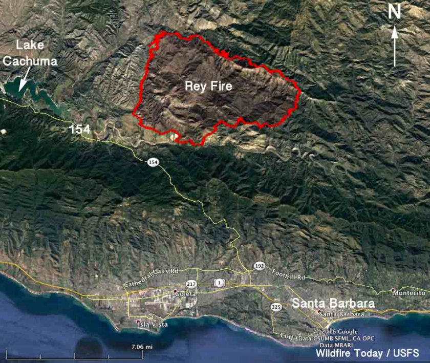 Map of the Rey Fire