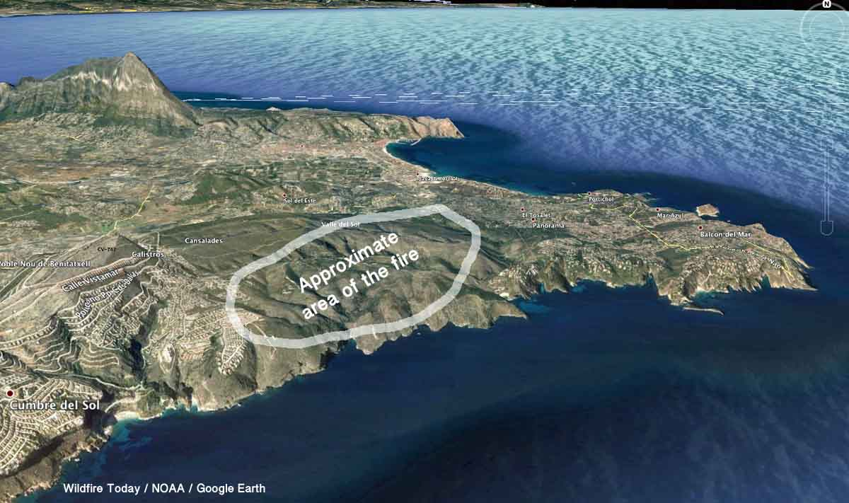 Javea Spain Map.Large Wildfire Burns Homes At Javea Spain Wildfire Today