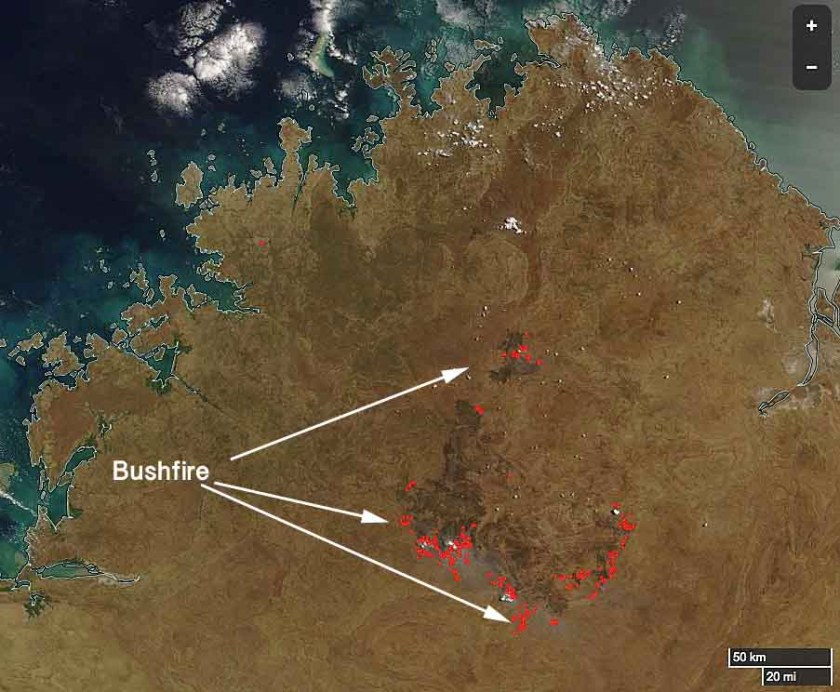 Kimberly region bushfire map