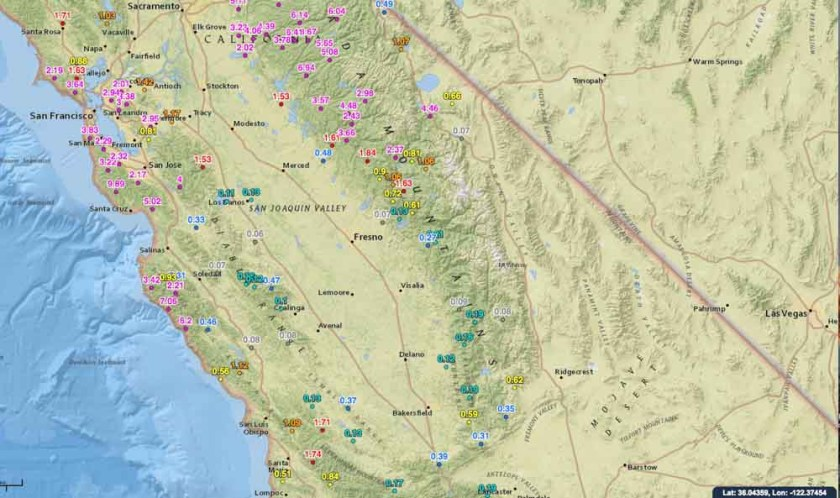 Rainfall last 2 weeks central California