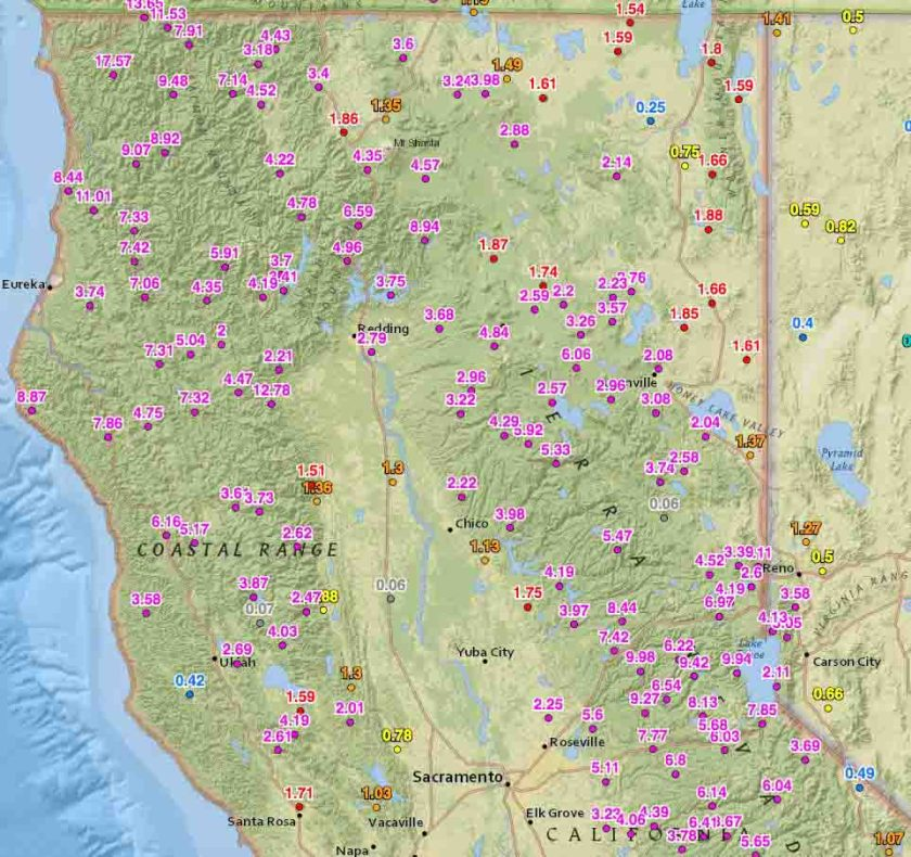 Rainfall last 2 weeks, northern California