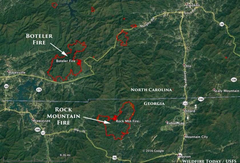 map Rock Mountain Fire Boteler Fire