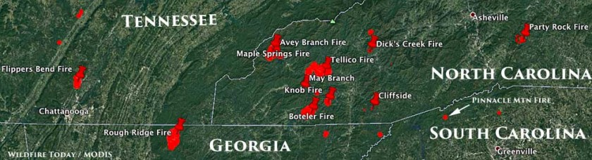 map fires south