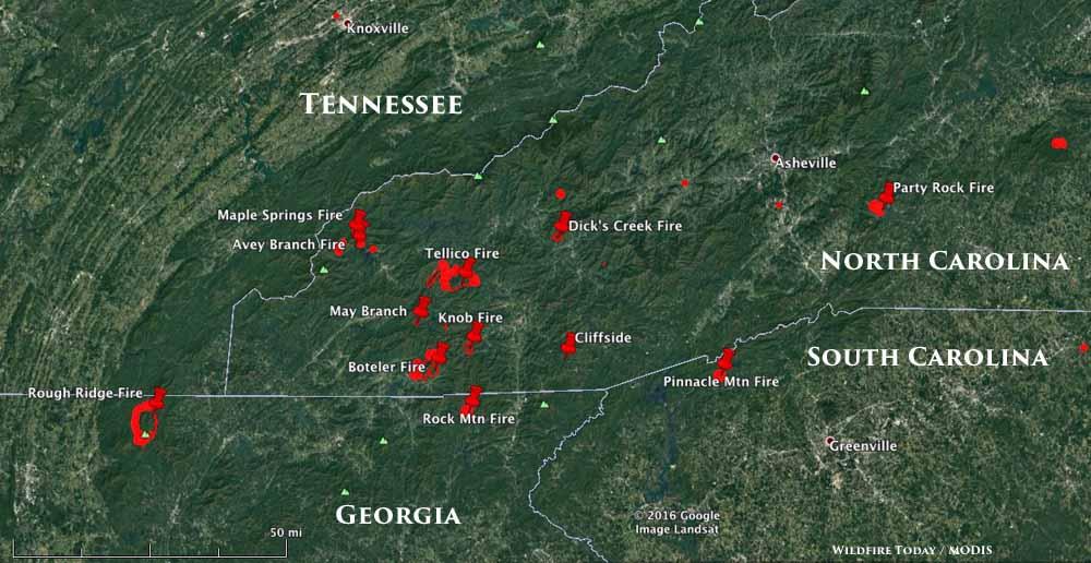 map fires NC GA SC