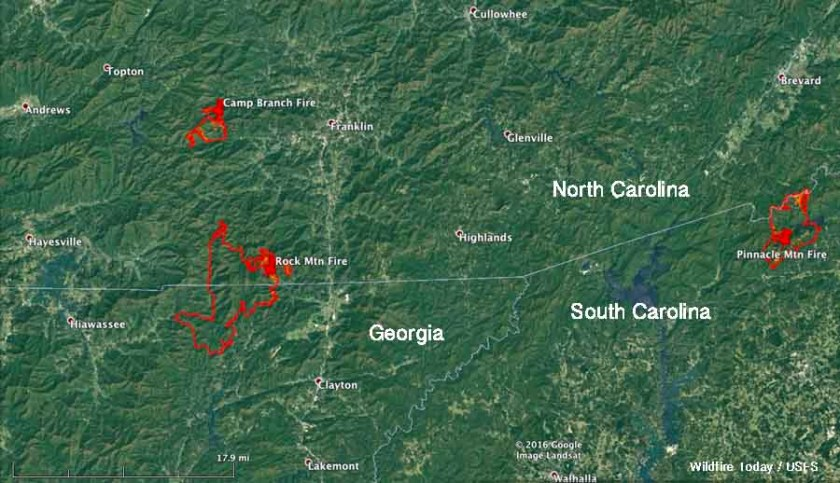 map Rock Mountain, Camp Branch, and Pinnacle Mountain Fires