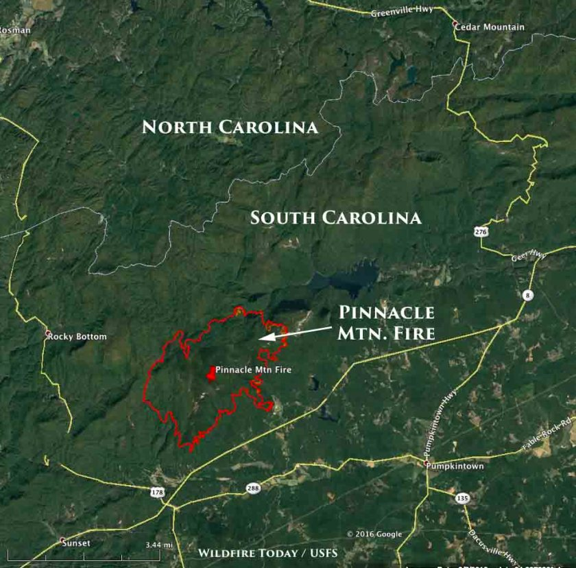 map Pinnacle Mountain Fire