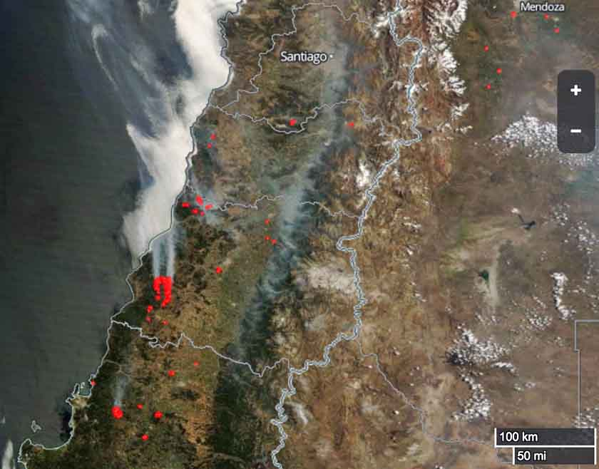 Update on wildfires in Chile