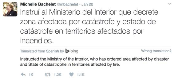 Chile President wildfires tweet