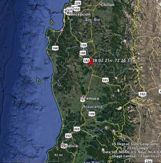 map Chile arson